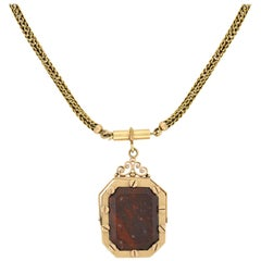 Victorian Agate Spinner Fob Locket and Braided Chain Necklace