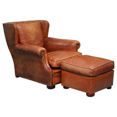 Victorian Aged Brown Leather Armchair and Matching Footstool Feather Filled Seat