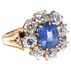 Victorian AGL 2.99 Carat Burma No Heat Sapphire Diamond 14 Karat Rose Gold Ring