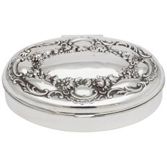 Victorian All Sterling Silver Oval Trinkets Box with Hinged Lid
