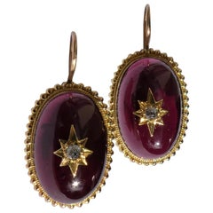 Victorian Almandine Garnet Diamond Star 14 Karat Gold Granulation Earrings