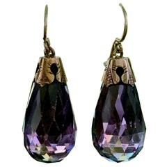 Victorian Amethyst 10 Karat Yellow Gold Drop Earrings