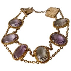 Victorian Amethyst and 9 Carat Gold Bracelet