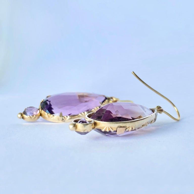 Pear Cut Victorian Amethyst and 9 Carat Gold Earrings For Sale