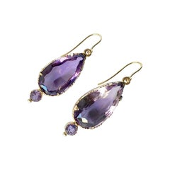 Victorian Amethyst and 9 Carat Gold Earrings