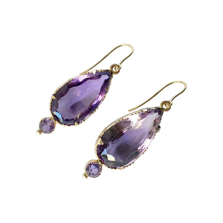 Victorian Amethyst and 9 Carat Gold Earrings For Sale