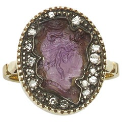 Victorian Amethyst and Diamond Cameo Ring