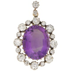 Victorian Amethyst and Diamond Pendant in Silver on Gold