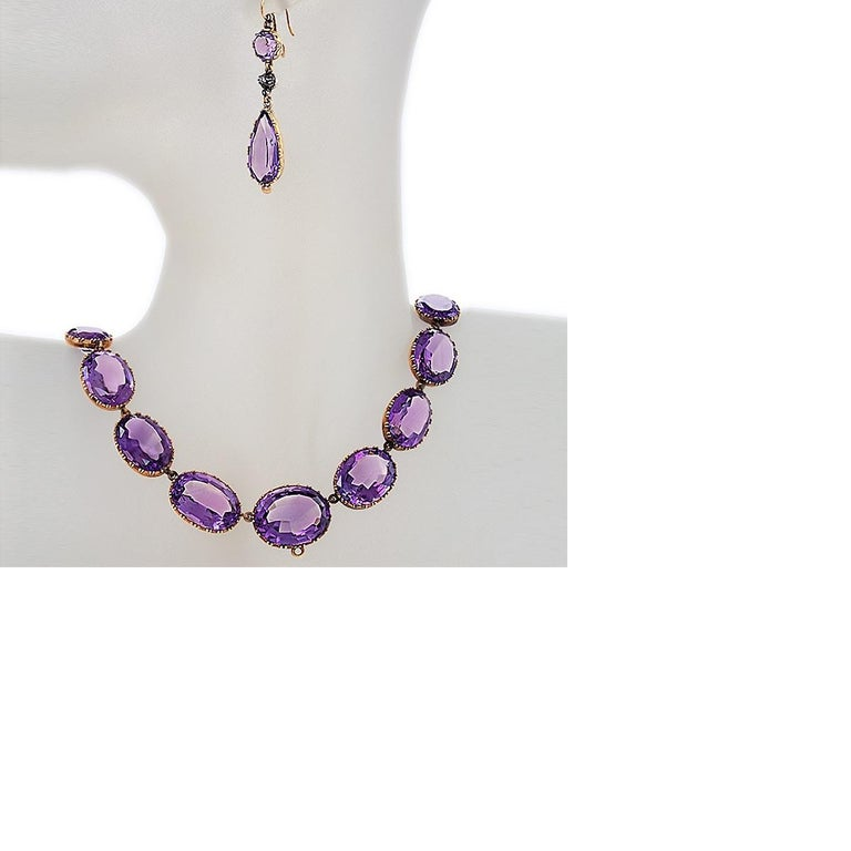 Women's Victorian Amethyst and Gold Parure For Sale