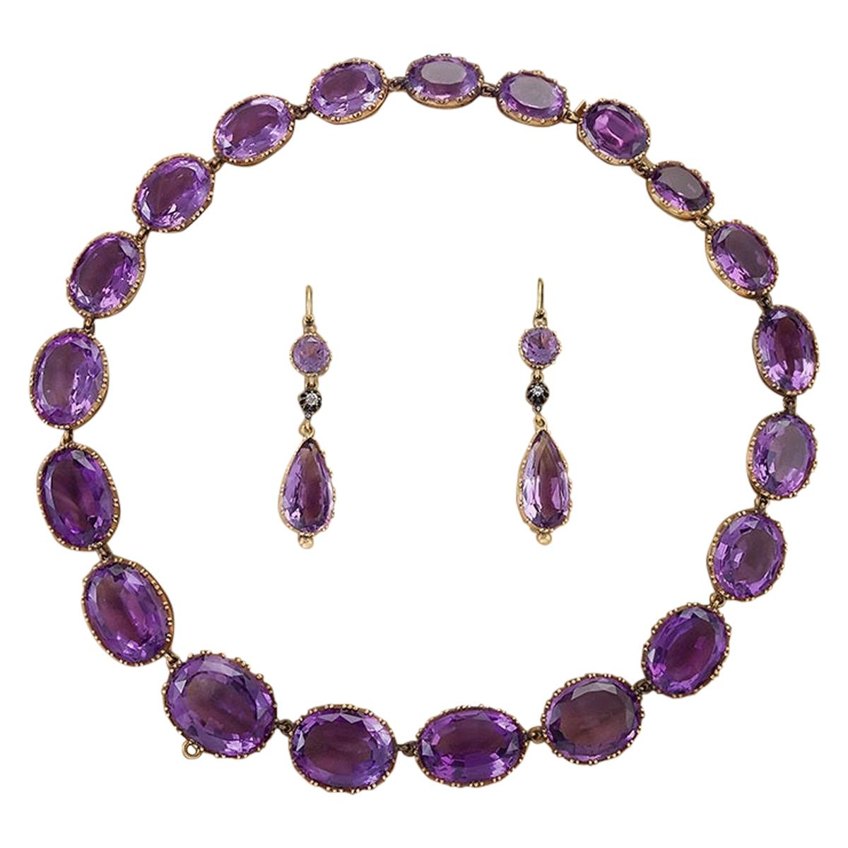 Victorian Amethyst and Gold Parure