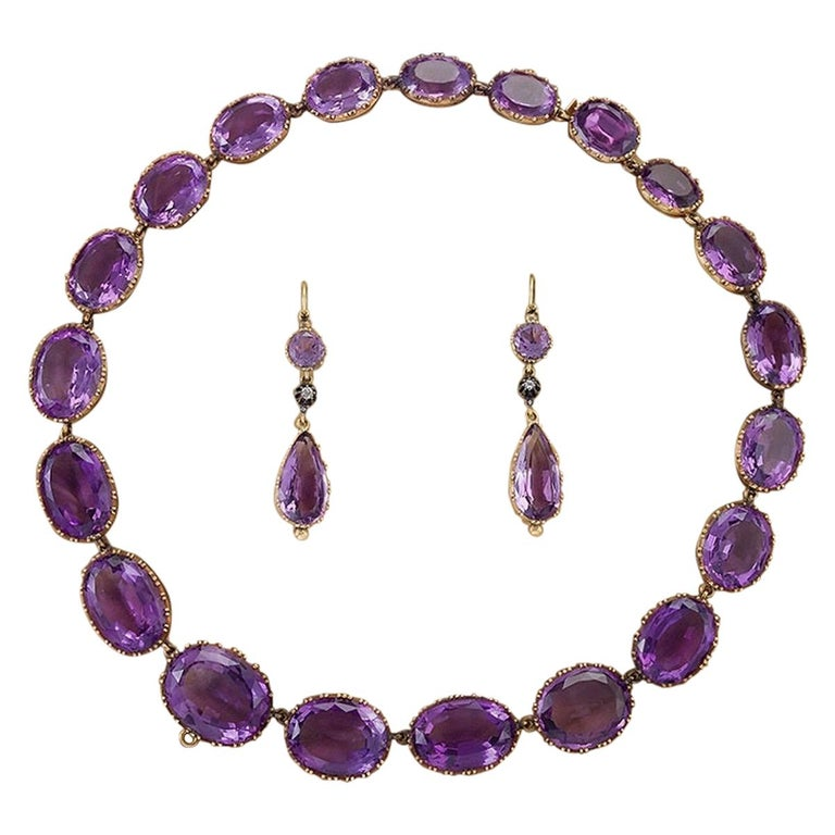 Victorian Amethyst and Gold Parure For Sale