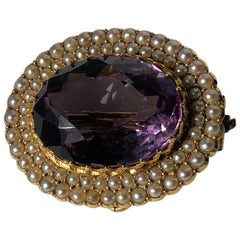 Victorian Amethyst and Pearl Cluster Brooch or Pendant