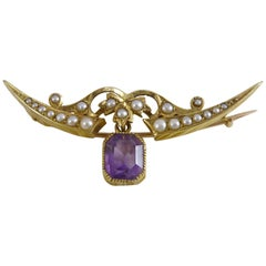 Victorian Amethyst and Pearl Crescent Broocgh, 15 Carat Gold