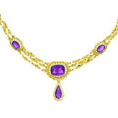 Victorian Amethyst and Pearl Gold Necklace