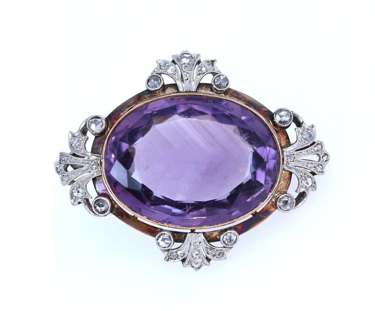 Late Victorian Victorian Amethyst Diamonds Brooch Silver 18 Karat Gold, 1900 For Sale