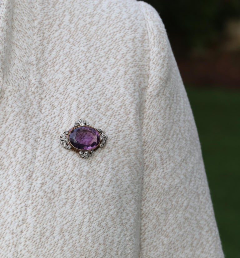 Victorian Amethyst Diamonds Brooch Silver 18 Karat Gold, 1900 For Sale 1