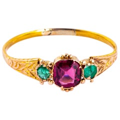 Victorian Amethyst, Emerald and 18 Carat Gold Three-Stone Ring
