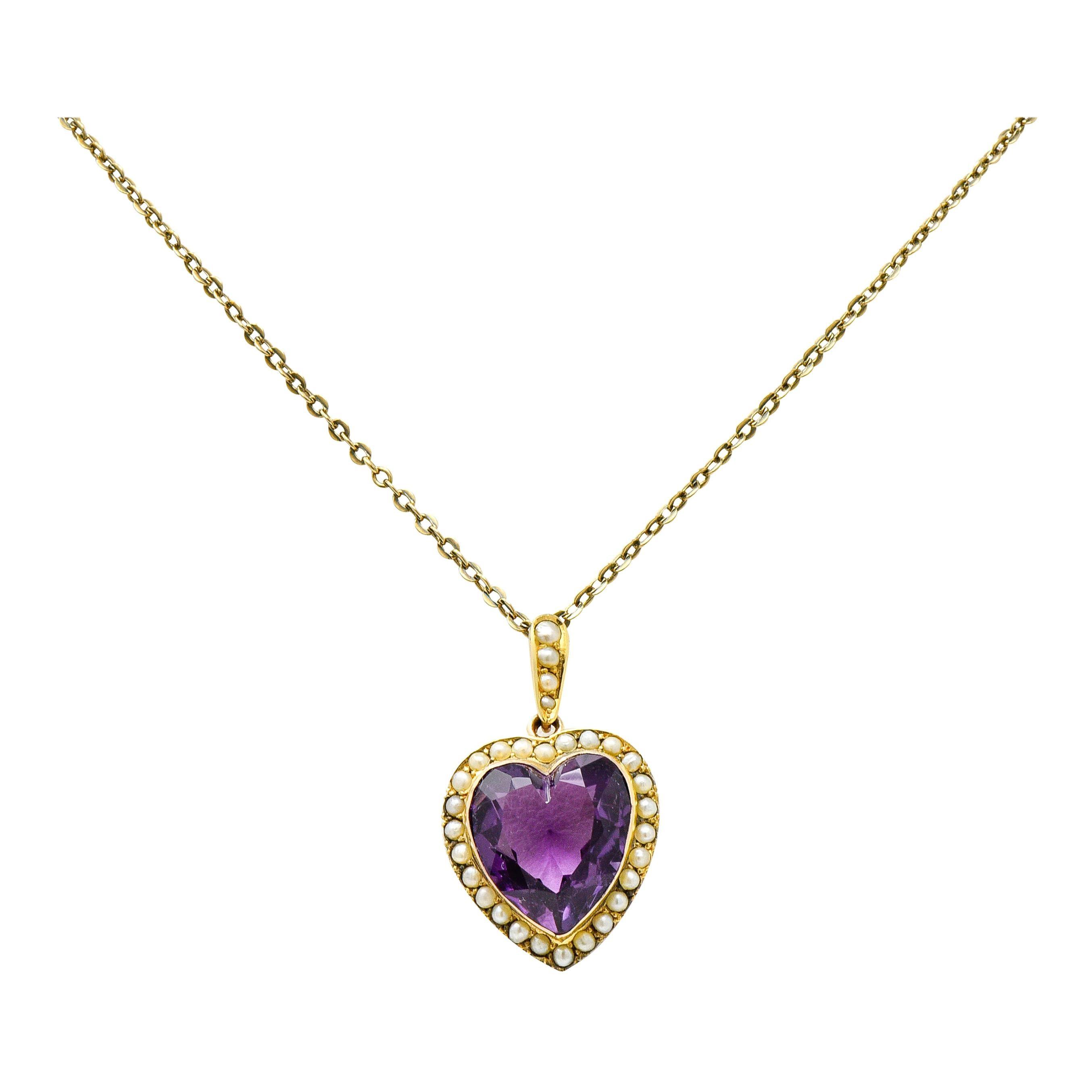 Victorian Amethyst Freshwater Natural Pearl 14 Karat Gold Heart Pendant Necklace