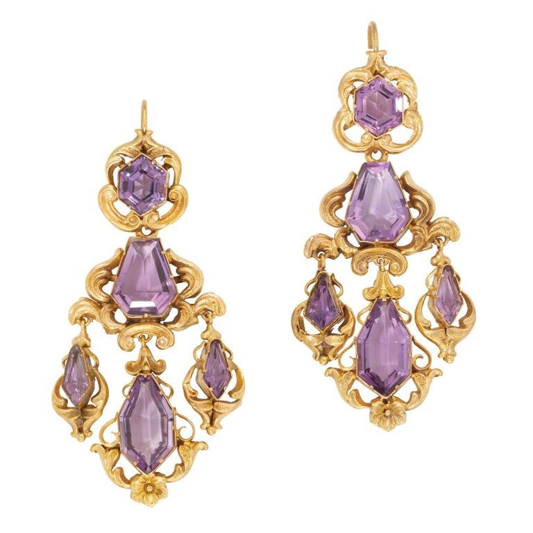 Women's Victorian Amethyst Gold Drop Earrings For Sale