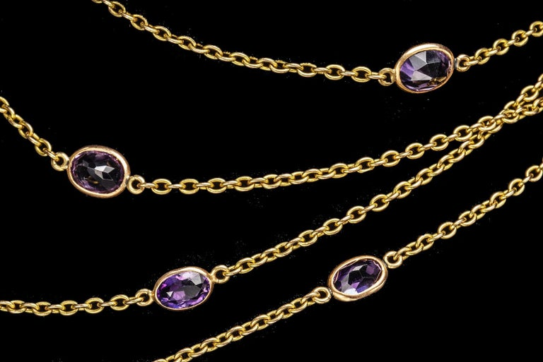 Oval Cut Victorian Amethyst Gold Necklace, Late 19th Century For Sale