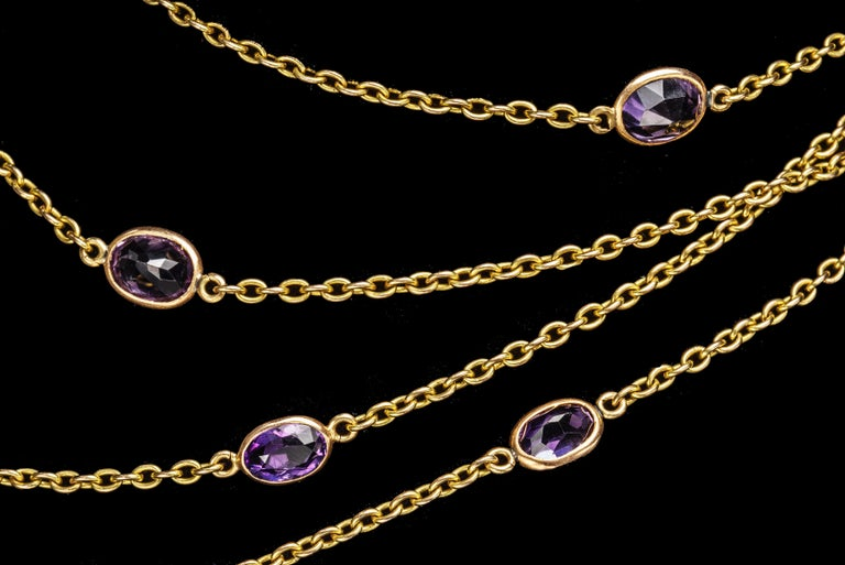 Victorian Amethyst Gold Necklace, Late 19th Century In Good Condition For Sale In Lewiston, NY