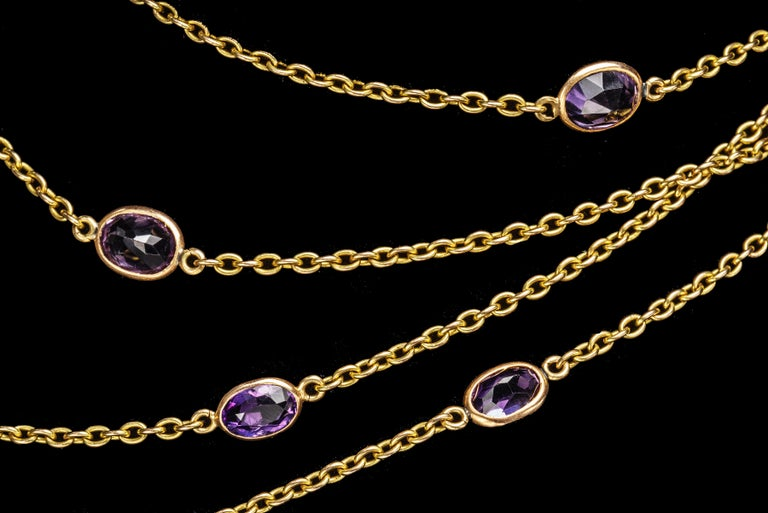 Women's or Men's Victorian Amethyst Gold Necklace, Late 19th Century For Sale