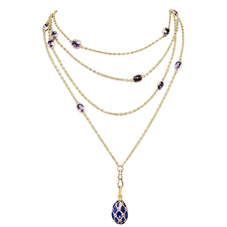 Victorian Amethyst Gold Necklace, Late 19th Century For Sale
