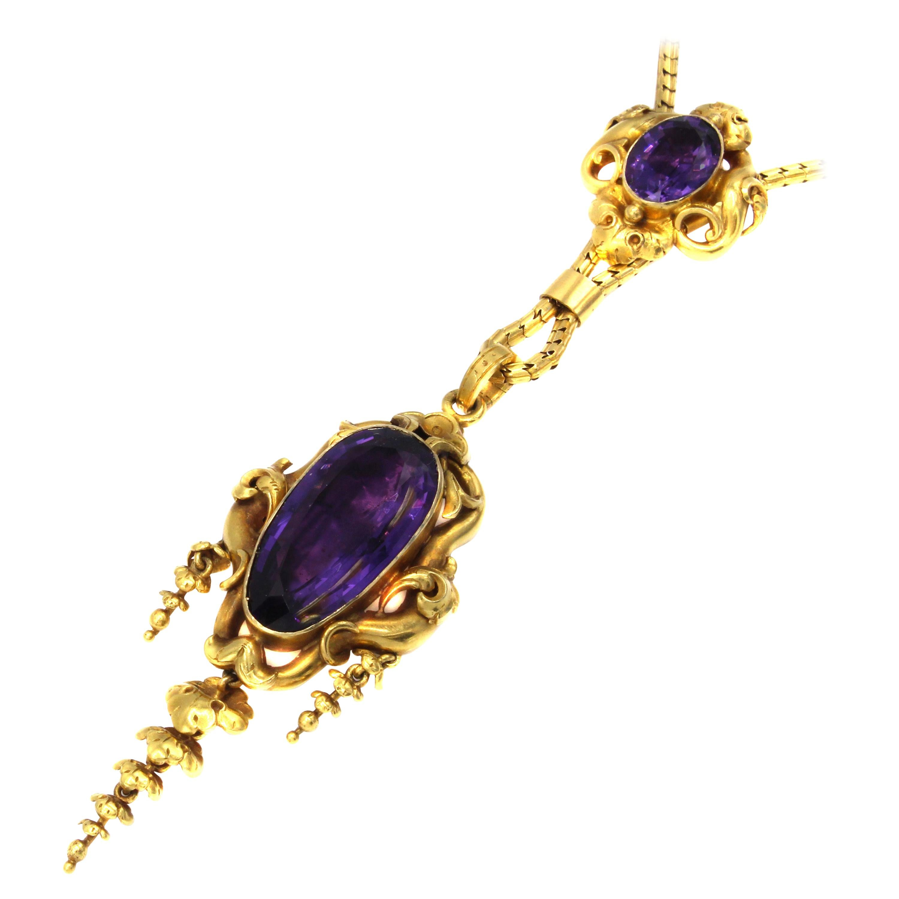 Victorian Amethyst Gold Pendant Necklace