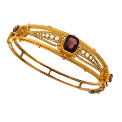 Victorian Amethyst Hinged Bangle Bracelet