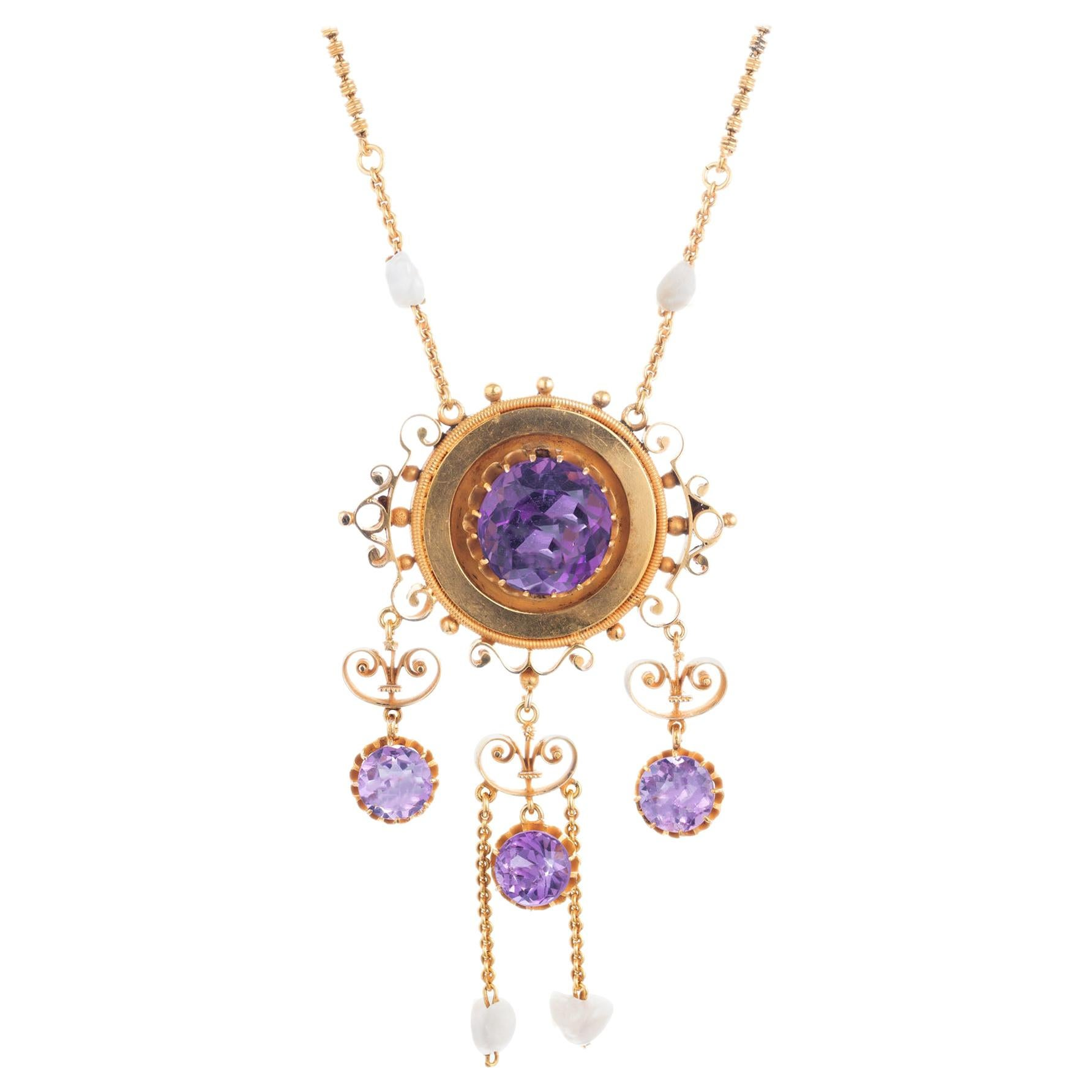 Victorian Amethyst Natural Freshwater Pearl Pendant Necklace