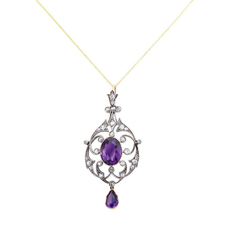 Women's Victorian Amethyst Old Mine Cut Diamond Gold Silver Pendant For Sale