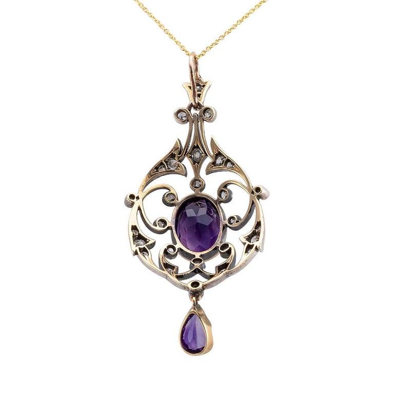 Victorian Amethyst Old Mine Cut Diamond Gold Silver Pendant For Sale 2