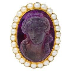 Victorian Amethyst Pearl 14 Karat Gold Cameo Cluster Pendant Brooch