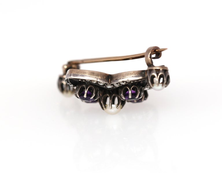 Victorian Amethyst Pearls Diamonds Silver Gold Brooch, 1900 In Good Condition For Sale In Herzelia, IL