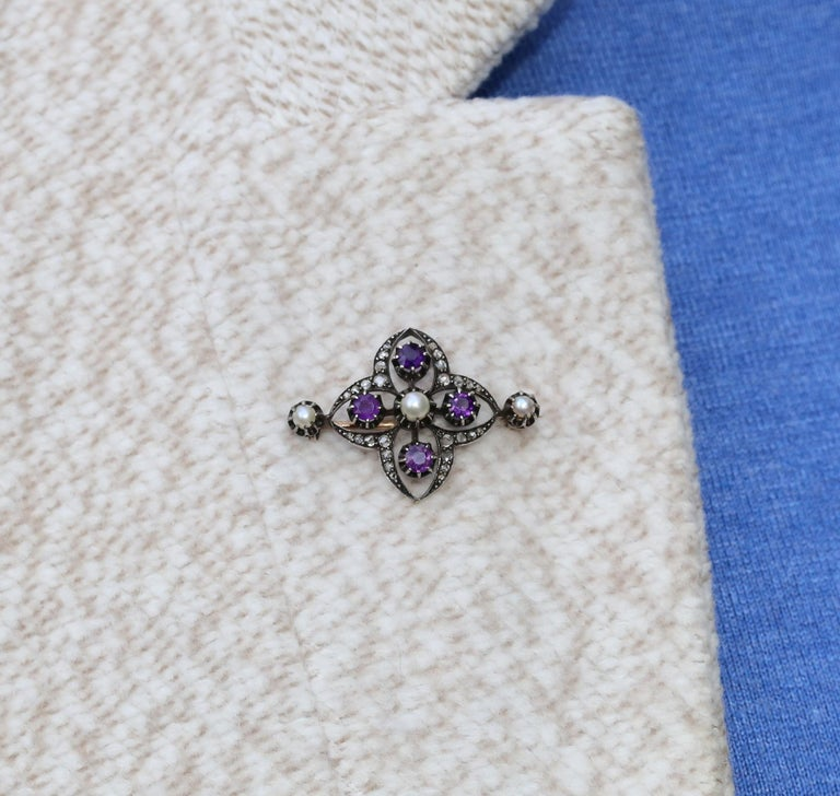 Victorian Amethyst Pearls Diamonds Silver Gold Brooch, 1900 For Sale 1