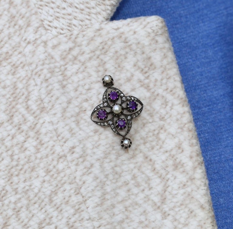 Victorian Amethyst Pearls Diamonds Silver Gold Brooch, 1900 For Sale 2