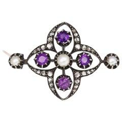 Victorian Amethyst Pearls Diamonds Silver Gold Brooch, 1900