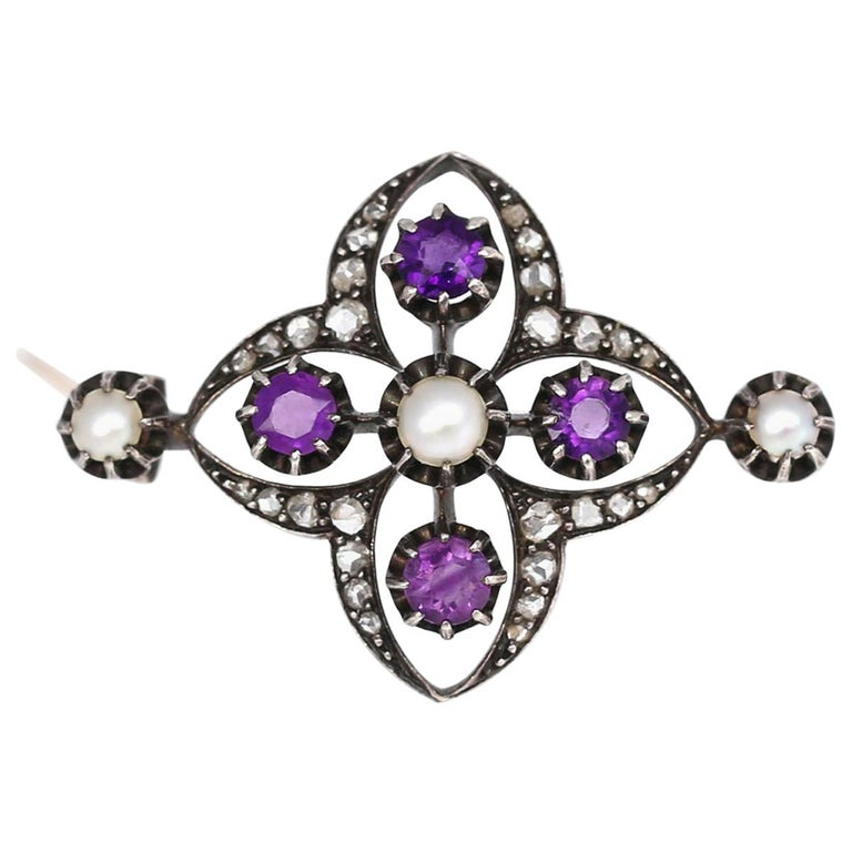 Victorian Amethyst Pearls Diamonds Silver Gold Brooch, 1900 For Sale