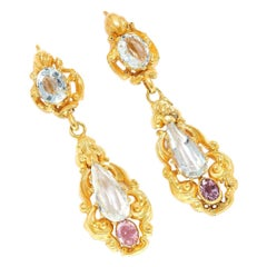 Victorian Amethyst Pink Topaz 18 Karat Yellow Gold Dangling Earrings