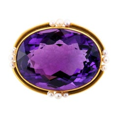 Victorian Amethyst Seed Pearl Gold Brooch