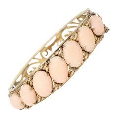 Victorian Angel Skin Coral Cabochon Bangle Bracelet in 14k