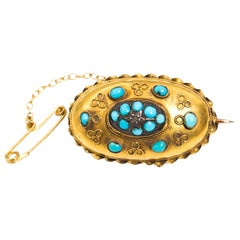Victorian Antique 15 Carat Yellow Gold 19th Century Turquoise Mourning Brooch