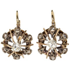 Victorian Antique 18 Karat Gold and Silver Diamonds Earrings
