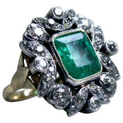 Victorian Antique 18 Karat Gold / Silver Diamond and Emerald Ring, 6.60 Carat