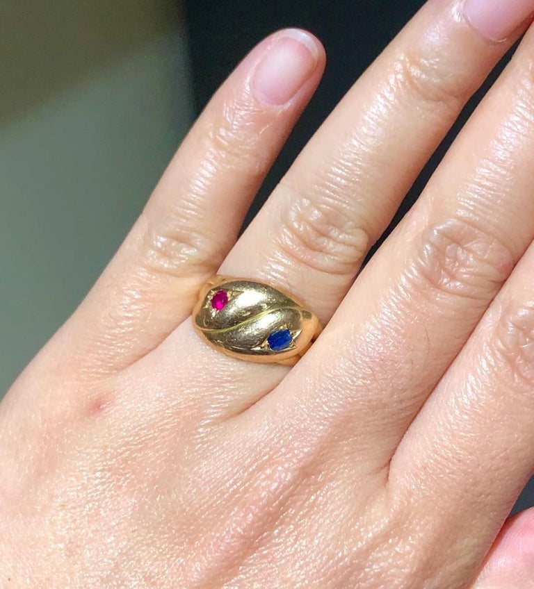 Round Cut Victorian Antique 22 Karat Sapphire Ruby Double Snake Ring For Sale