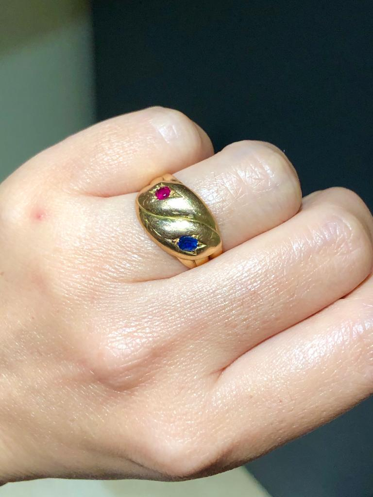 Women's or Men's Victorian Antique 22 Karat Sapphire Ruby Double Snake Ring For Sale