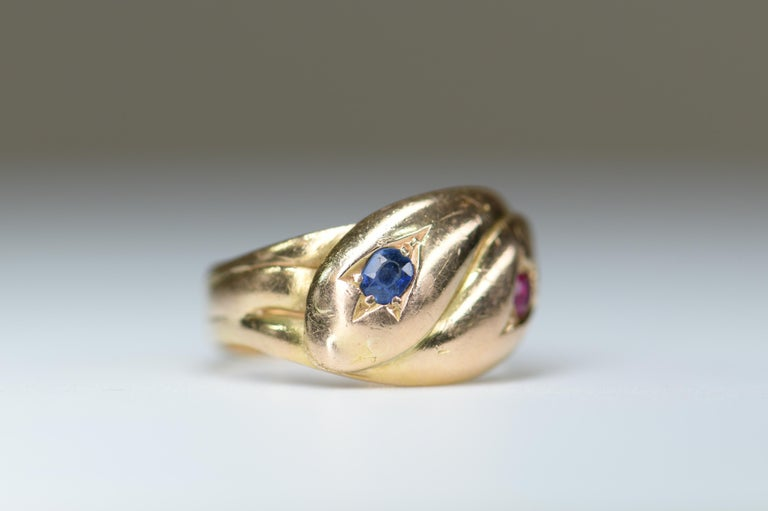 Victorian Antique 22 Karat Sapphire Ruby Double Snake Ring For Sale 1