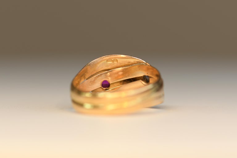 Victorian Antique 22 Karat Sapphire Ruby Double Snake Ring For Sale 2