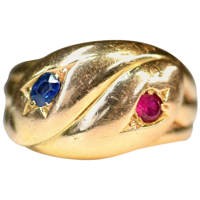 Victorian Antique 22 Karat Sapphire Ruby Double Snake Ring For Sale