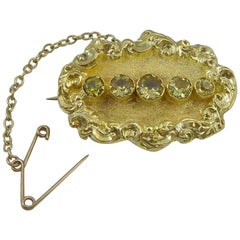 Victorian Antique Brooch, Yellow Gold and Peridot, circa 1880s